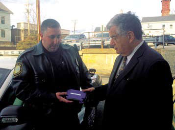 Haverhill Police Officer Trocki and Mayor James J. Fiorentini with Narcan.