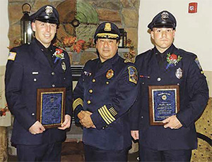 From left to right: Officer William Kannan, Chief Joseph Solomon, Officer Matthew Morel. (Courtesy Photo)